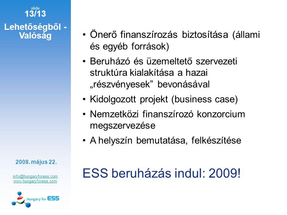 """slide 13/13 Lehetőségből - Valóság info@hungaryforess.com www.hungaryforess.com Önerő finanszírozás biztosítása ( állami és egyéb források) Beruházó és üzemeltető szervezeti struktúra kialakítása a hazai """"részvényesek bevonásával Kidolgozott projekt (business case) Nemzetközi finanszírozó konzorcium megszervezése A helyszín bemutatása, felkészítése ESS beruházás indul: 2009."""