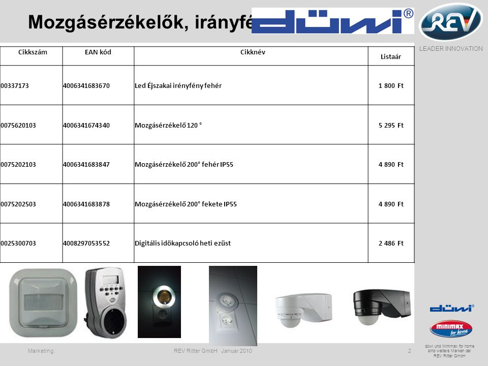 LEADER INNOVATION düwi und Minimax for home sind weitere Marken der REV Ritter GmbH Led éjszakai fény Marketing REV Ritter GmbH Januar 20103 Használat közben további készülékeket lehet csatlakoztatni az aljzatba Alkonykapcsolóval, kb.