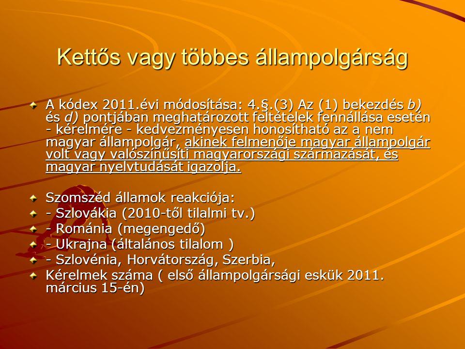 Kettős vagy többes állampolgárság A kódex 2011.évi módosítása: 4.§.(3) Az (1) bekezdés b) és d) pontjában meghatározott feltételek fennállása esetén -