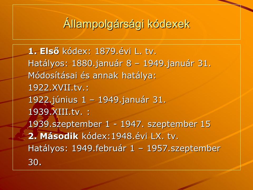 Állampolgársági kódexek 1. Első kódex: 1879.évi L. tv. Hatályos: 1880.január 8 – 1949.január 31. Módosításai és annak hatálya: 1922.XVII.tv.: 1922.jún