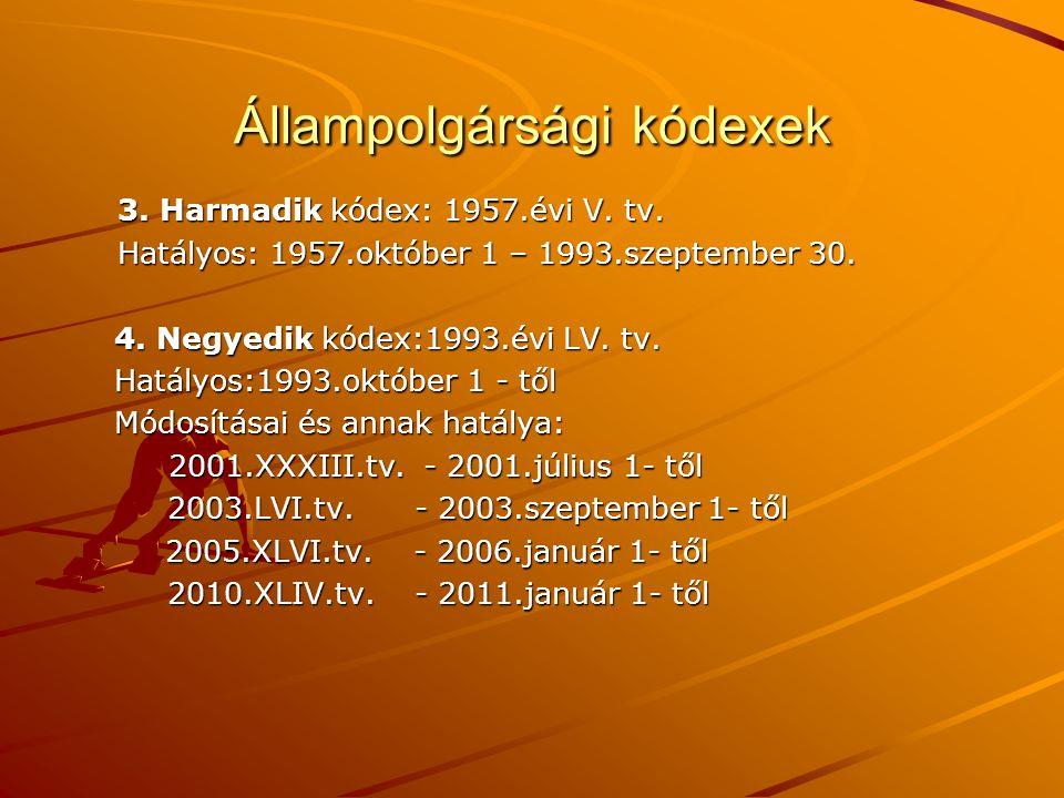 Állampolgársági kódexek 3. Harmadik kódex: 1957.évi V. tv. Hatályos: 1957.október 1 – 1993.szeptember 30. 4. Negyedik kódex:1993.évi LV. tv. 4. Negyed