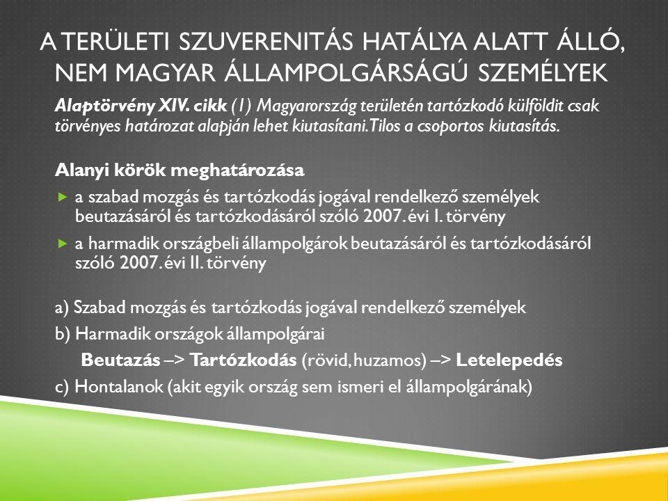 A TERÜLETI SZUVERENITÁS HATÁLYA ALATT ÁLLÓ, NEM MAGYAR ÁLLAMPOLGÁRSÁGÚ SZEMÉLYEK Alaptörvény XIV. cikk (1) Magyarország területén tartózkodó külföldit