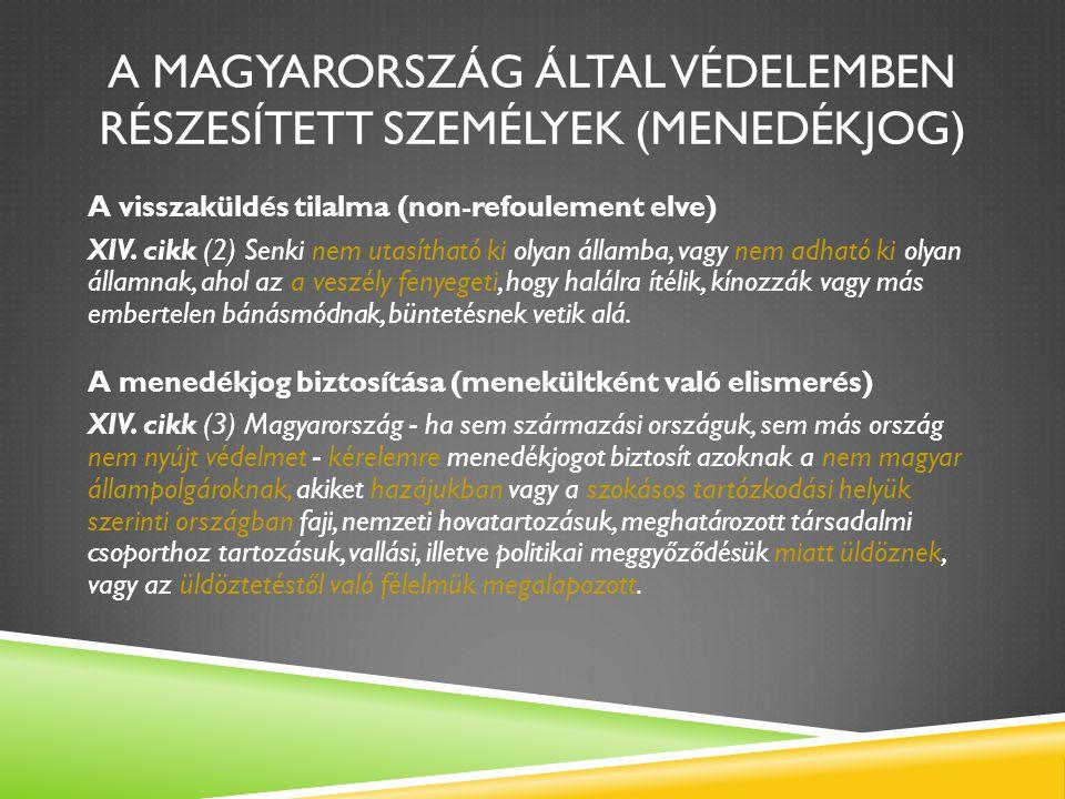 A MAGYARORSZÁG ÁLTAL VÉDELEMBEN RÉSZESÍTETT SZEMÉLYEK (MENEDÉKJOG) A visszaküldés tilalma (non-refoulement elve) XIV. cikk (2) Senki nem utasítható ki