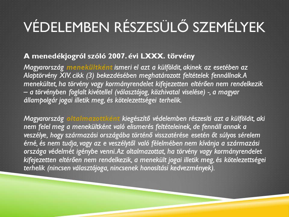 VÉDELEMBEN RÉSZESÜLŐ SZEMÉLYEK A menedékjogról szóló 2007. évi LXXX. törvény Magyarország menekültként ismeri el azt a külföldit, akinek az esetében a
