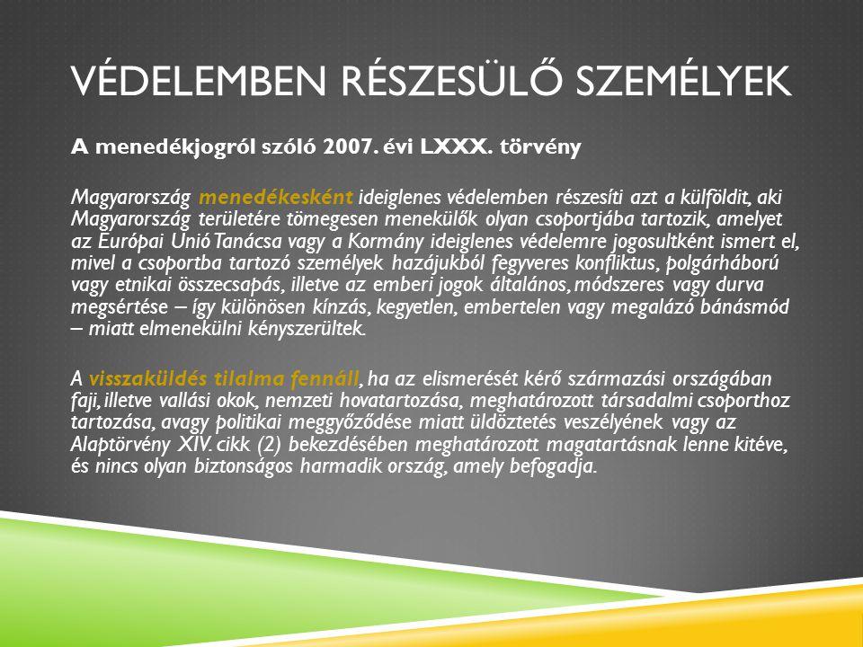VÉDELEMBEN RÉSZESÜLŐ SZEMÉLYEK A menedékjogról szóló 2007. évi LXXX. törvény Magyarország menedékesként ideiglenes védelemben részesíti azt a külföldi