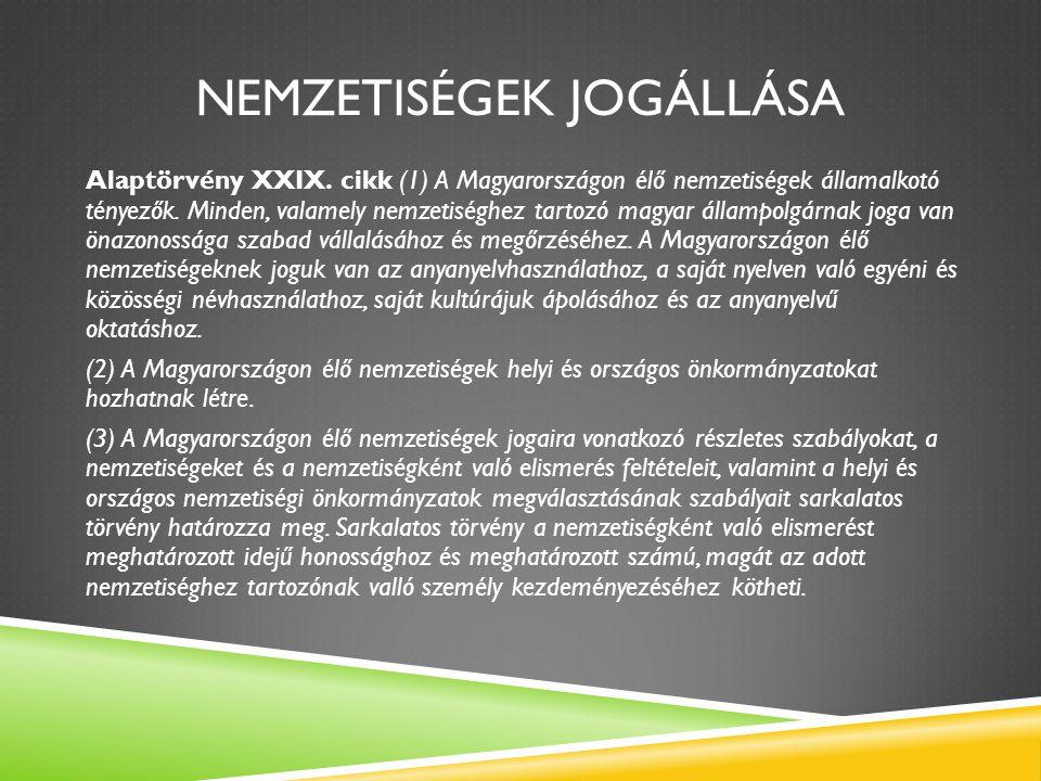 NEMZETISÉGEK JOGÁLLÁSA Alaptörvény XXIX. cikk (1) A Magyarországon élő nemzetiségek államalkotó tényezők. Minden, valamely nemzetiséghez tartozó magya