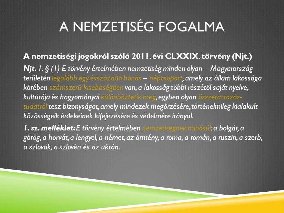 A NEMZETISÉG FOGALMA A nemzetiségi jogokról szóló 2011. évi CLXXIX. törvény (Njt.) Njt. 1. § (1) E törvény értelmében nemzetiség minden olyan – Magyar