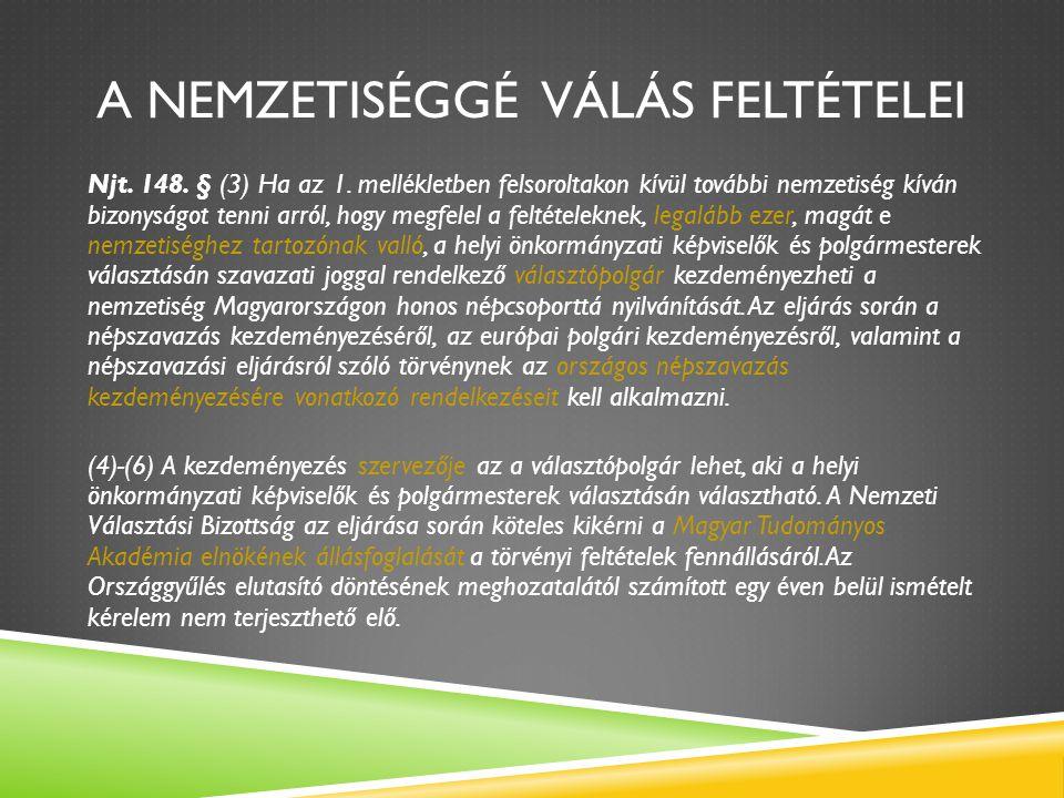 A NEMZETISÉGGÉ VÁLÁS FELTÉTELEI Njt. 148. § (3) Ha az 1. mellékletben felsoroltakon kívül további nemzetiség kíván bizonyságot tenni arról, hogy megfe