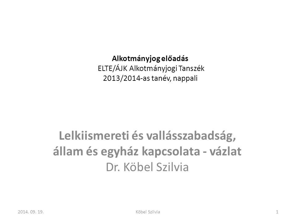 Magyarországi szabályozás rendszerváltás 1989-90 rendszerváltás hetvenes évektől enyhülés, nyolcvanas évek második felétől fokozatos modell-váltás átfogó vallásügyi törvény előkészítése szerzetesrendek működésének engedélyezése Állami Egyházügyi Hivatal jogutód nélküli megszüntetése 1989 nyarán 1989-90 a korábban üldözött vallási közösségek elismerése, nyilvántartásba vétele 222014.