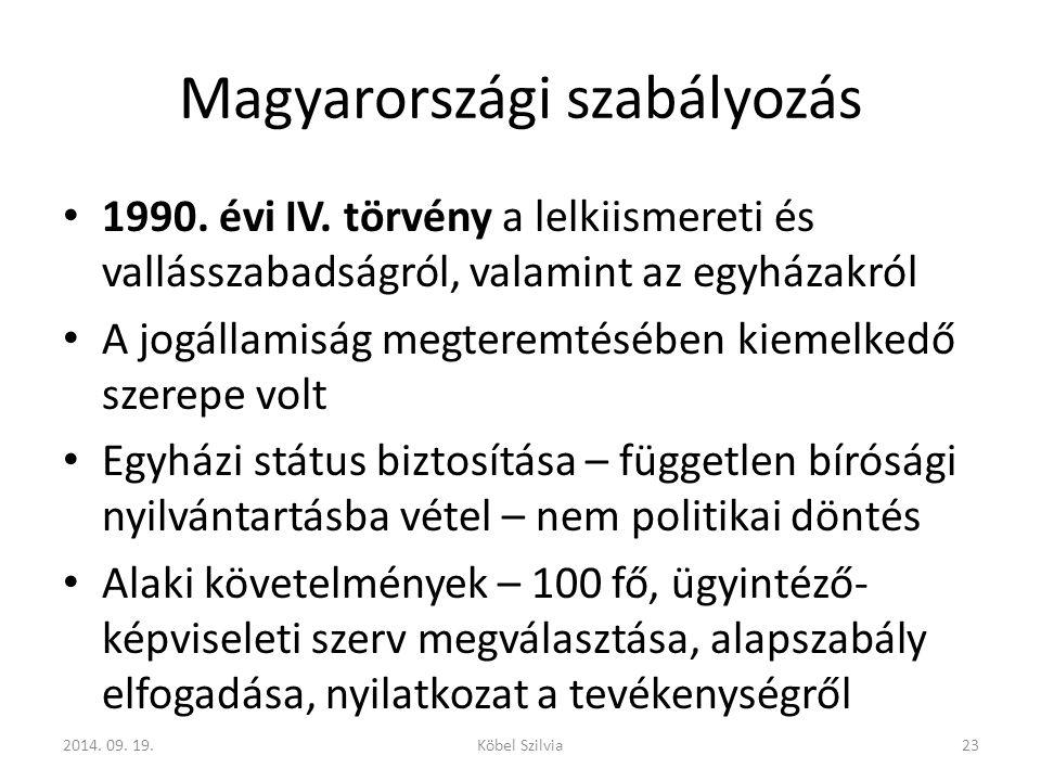 Magyarországi szabályozás 1990.évi IV.