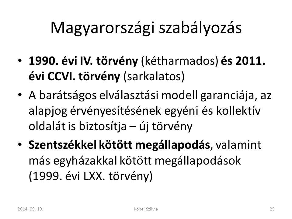 Magyarországi szabályozás 1990.évi IV. törvény (kétharmados) és 2011.