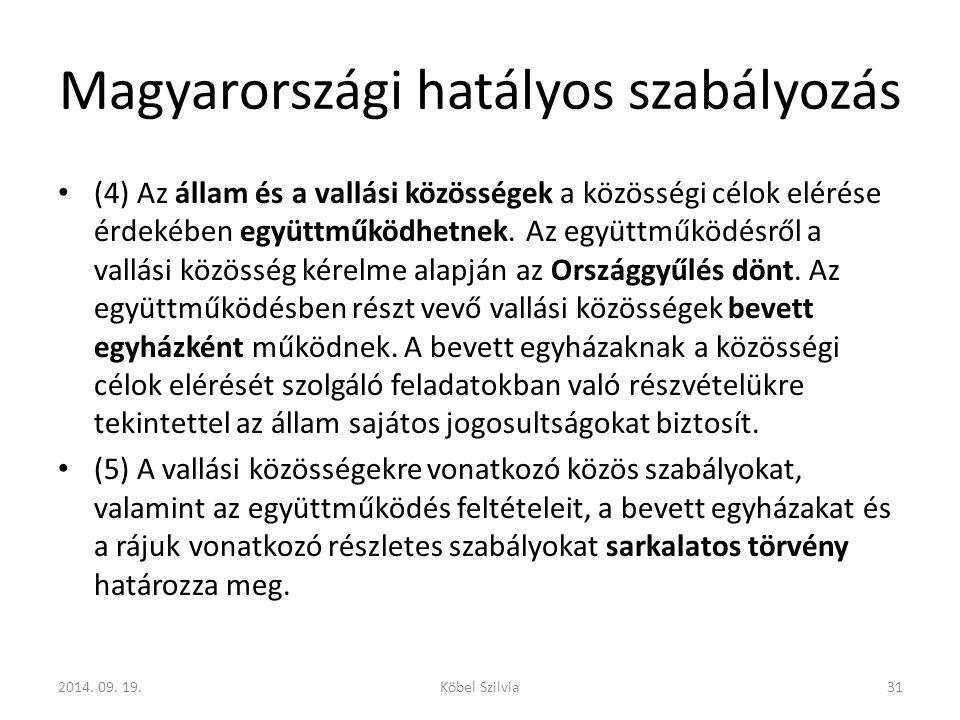Magyarországi hatályos szabályozás (4) Az állam és a vallási közösségek a közösségi célok elérése érdekében együttműködhetnek.
