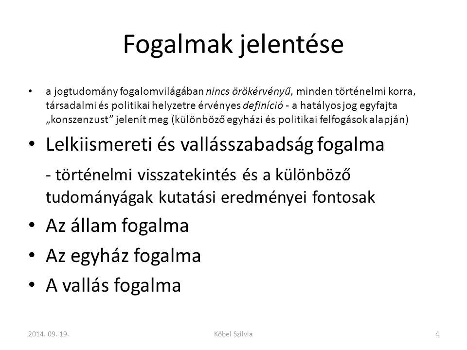 Magyarországi hatályos szabályozás – folytatva a vallásszabadságot biztosító törvényekben testet öltő hagyományt, – tekintettel az állam világnézeti semlegességére és a felekezetek közötti békés együttélésre való törekvésre, tiszteletben tartva az egyházakkal megkötött megállapodásokat, 2014.