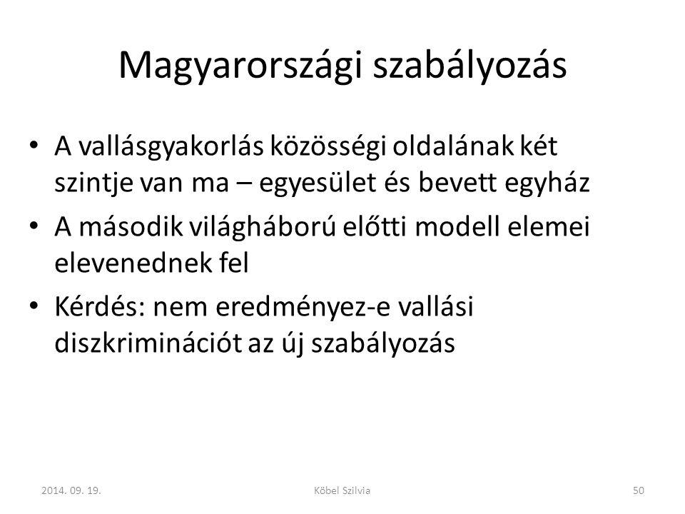 Magyarországi szabályozás A vallásgyakorlás közösségi oldalának két szintje van ma – egyesület és bevett egyház A második világháború előtti modell elemei elevenednek fel Kérdés: nem eredményez-e vallási diszkriminációt az új szabályozás 2014.