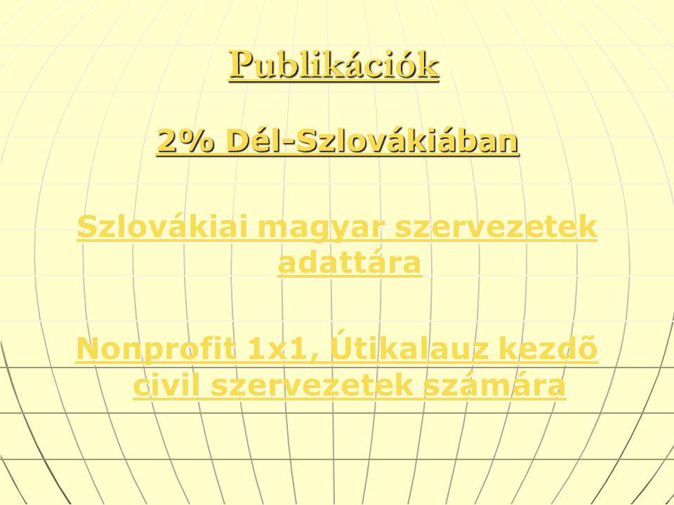 PublikációkPublikációk Publikációk Publikációk 2% Dél-Szlovákiában 2% Dél-Szlovákiában Szlovákiai magyar szervezetek adattára Szlovákiai magyar szervezetek adattára Nonprofit 1x1, Útikalauz kezdõ civil szervezetek számára Nonprofit 1x1, Útikalauz kezdõ civil szervezetek számára