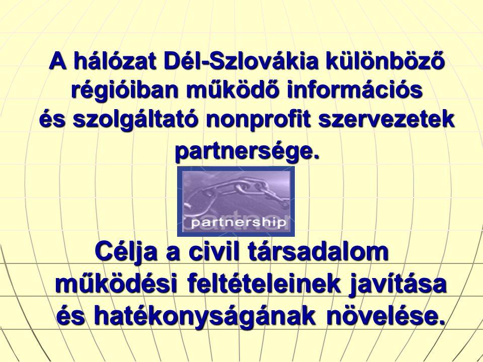 A hálózat Dél-Szlovákia különböző régióiban működő információs és szolgáltató nonprofit szervezetek partnersége.