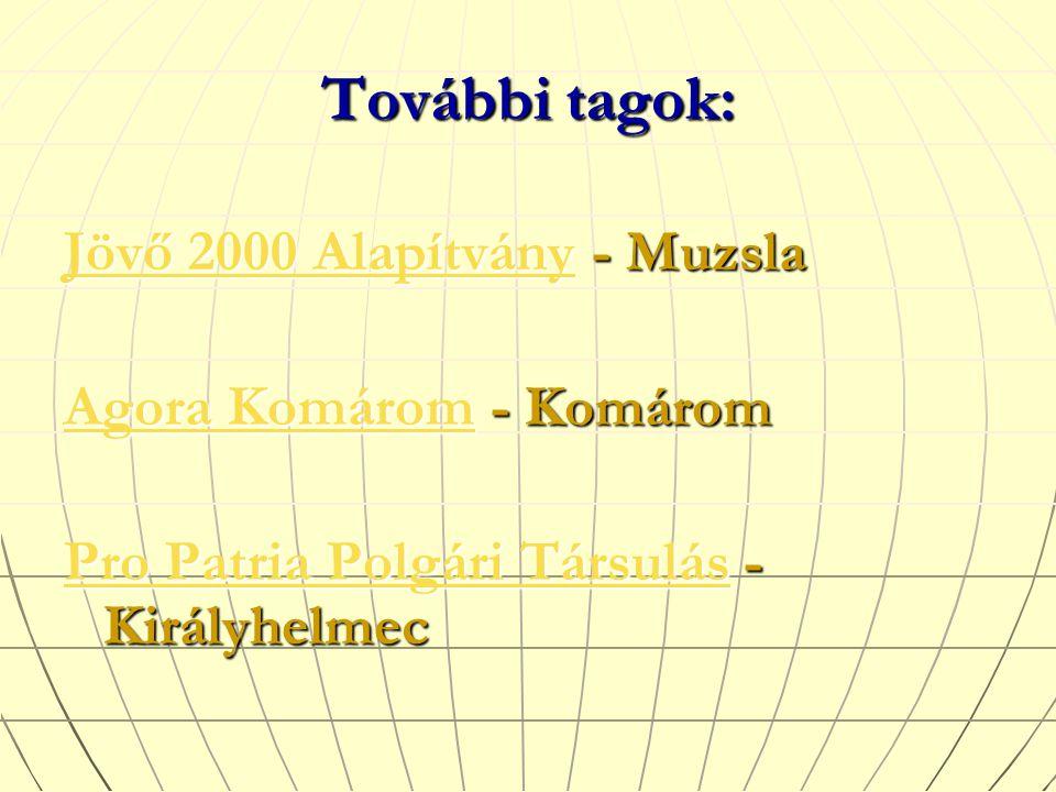 Jövő 2000 AlapítványJövő 2000 Alapítvány - Muzsla Jövő 2000 Alapítvány Agora Komárom Agora Komárom - Komárom Agora Komárom Pro Patria Polgári Társulás