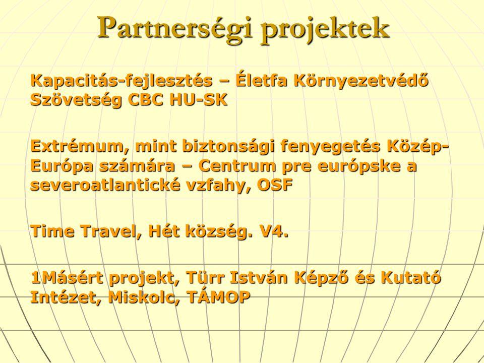 Partnerségi projektek Kapacitás-fejlesztés – Életfa Környezetvédő Szövetség CBC HU-SK Extrémum, mint biztonsági fenyegetés Közép- Európa számára – Centrum pre európske a severoatlantické vzfahy, OSF Time Travel, Hét község.