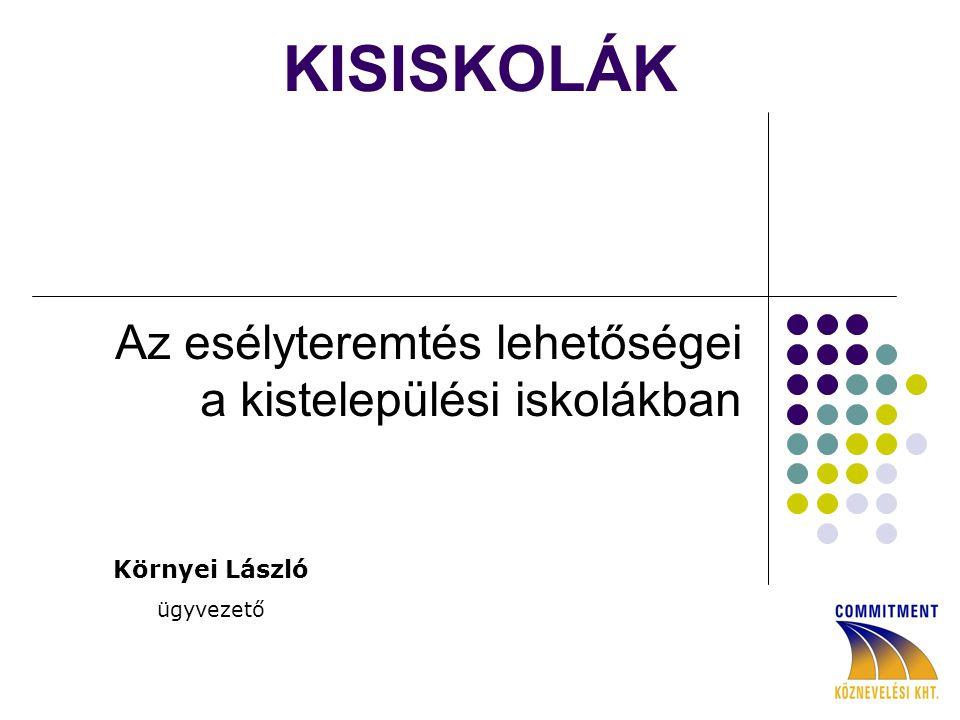 KISISKOLÁK Az esélyteremtés lehetőségei a kistelepülési iskolákban Környei László ügyvezető