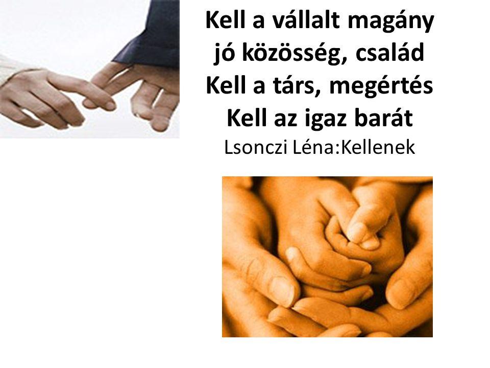 Kell a vállalt magány jó közösség, család Kell a társ, megértés Kell az igaz barát Lsonczi Léna:Kellenek