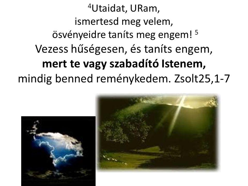4 Utaidat, URam, ismertesd meg velem, ösvényeidre taníts meg engem! 5 Vezess hűségesen, és taníts engem, mert te vagy szabadító Istenem, mindig benned