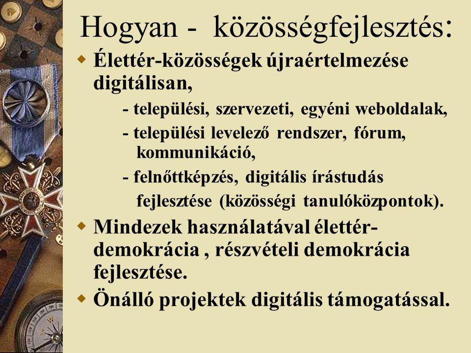Hogyan - közösségfejlesztés :  Élettér-közösségek újraértelmezése digitálisan, - települési, szervezeti, egyéni weboldalak, - települési levelező rendszer, fórum, kommunikáció, - felnőttképzés, digitális írástudás fejlesztése (közösségi tanulóközpontok).