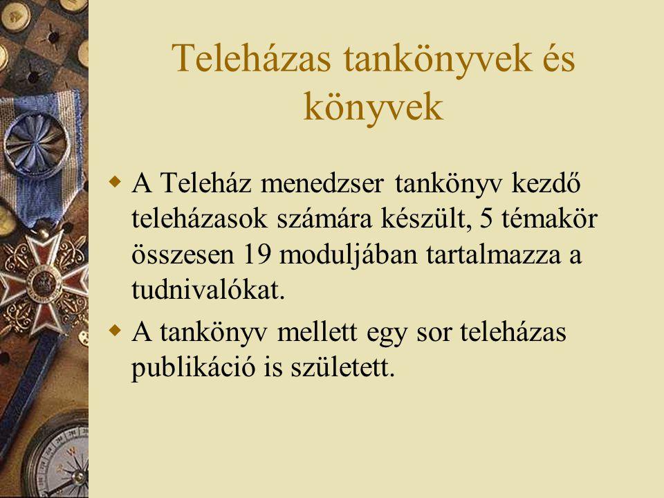 Teleházas tankönyvek és könyvek  A Teleház menedzser tankönyv kezdő teleházasok számára készült, 5 témakör összesen 19 moduljában tartalmazza a tudnivalókat.
