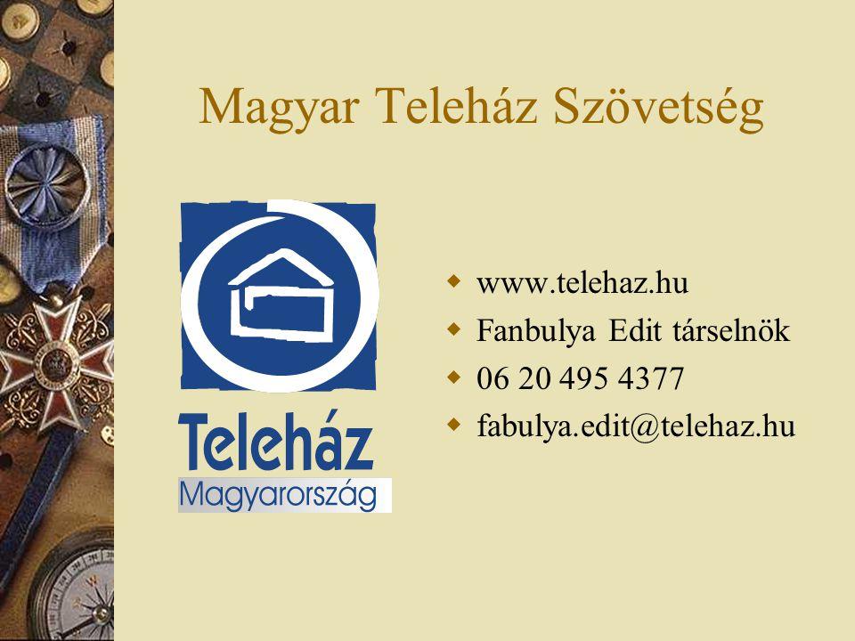 Magyar Teleház Szövetség  www.telehaz.hu  Fanbulya Edit társelnök  06 20 495 4377  fabulya.edit@telehaz.hu
