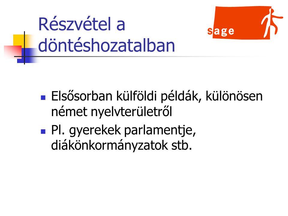 Részvétel a döntéshozatalban Elsősorban külföldi példák, különösen német nyelvterületről Pl.