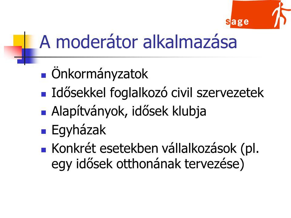 A moderátor alkalmazása Önkormányzatok Idősekkel foglalkozó civil szervezetek Alapítványok, idősek klubja Egyházak Konkrét esetekben vállalkozások (pl.