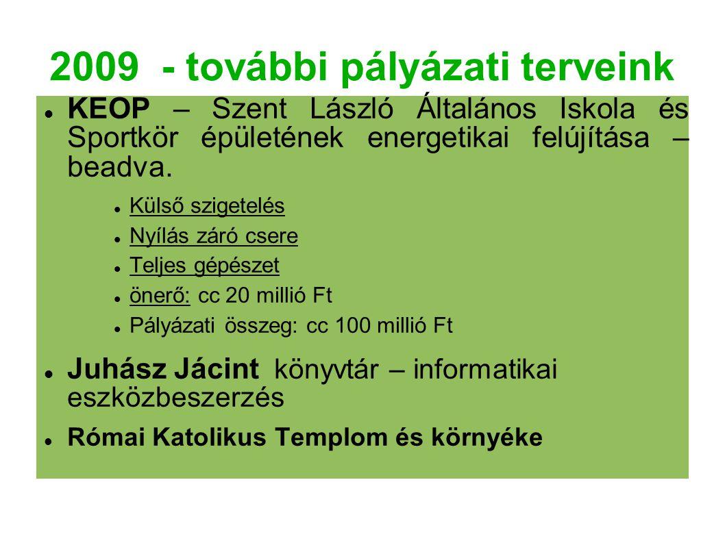 2009 - további pályázati terveink KEOP – Szent László Általános Iskola és Sportkör épületének energetikai felújítása – beadva. Külső szigetelés Nyílás