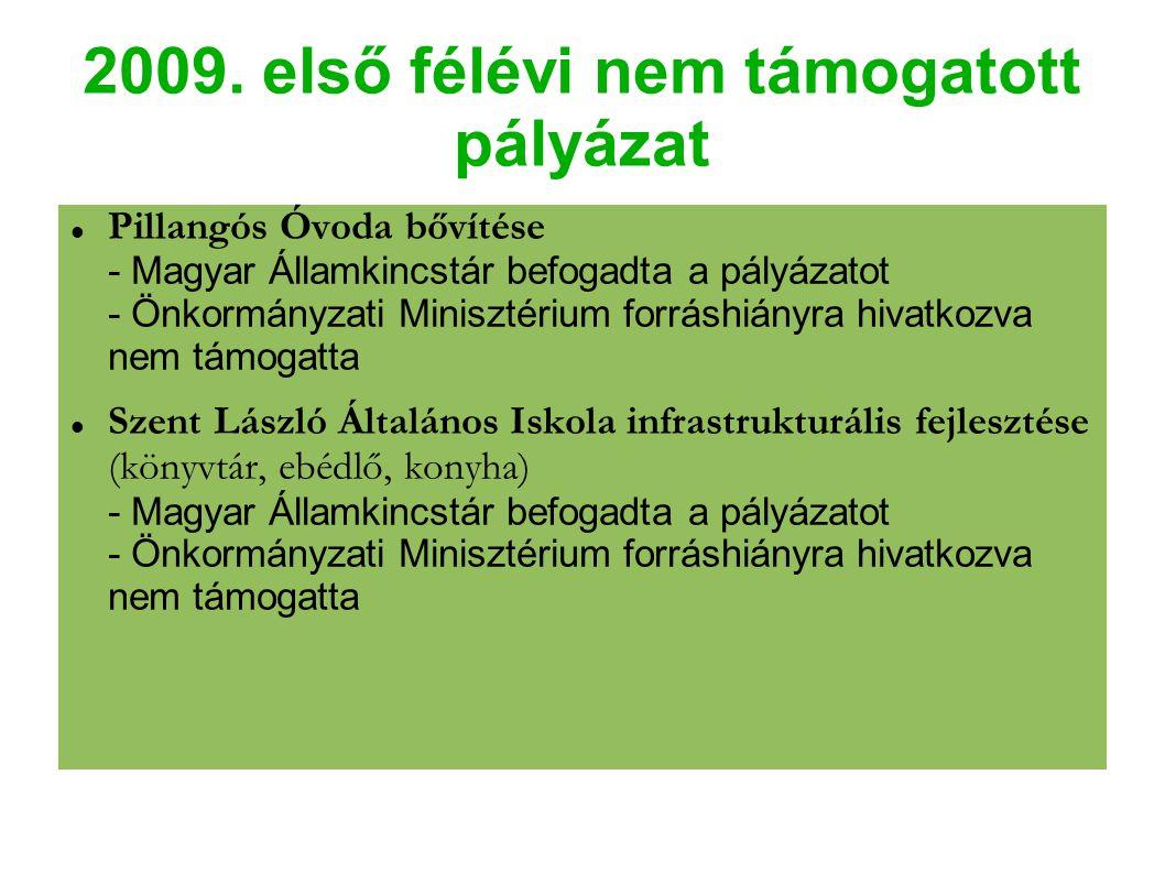 2009. első félévi nem támogatott pályázat Pillangós Óvoda bővítése - Magyar Államkincstár befogadta a pályázatot - Önkormányzati Minisztérium forráshi