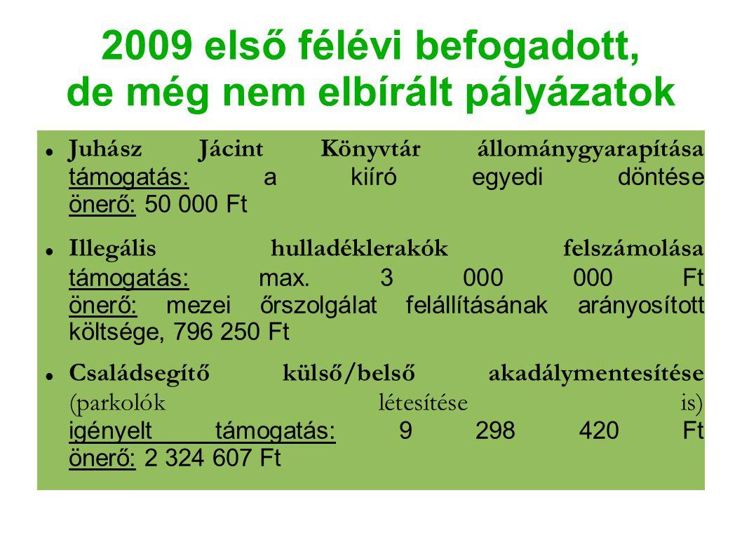 2009 első félévi befogadott, de még nem elbírált pályázatok Juhász Jácint Könyvtár állománygyarapítása támogatás: a kiíró egyedi döntése önerő: 50 000