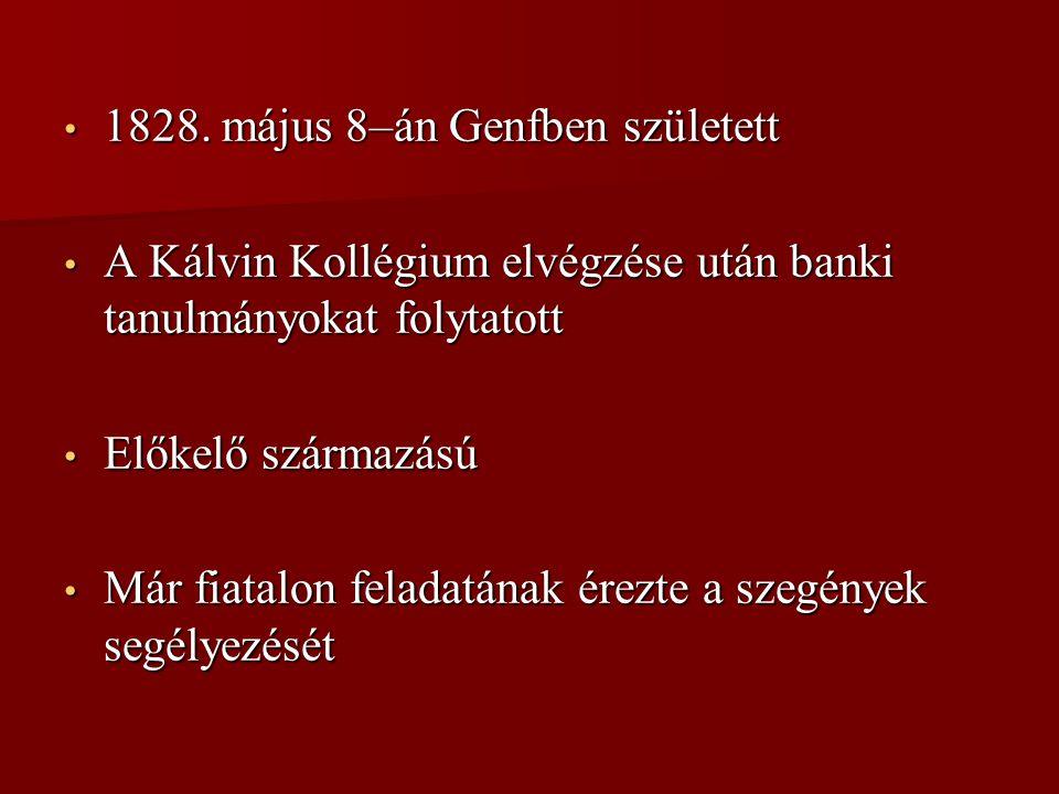 1828. május 8–án Genfben született 1828. május 8–án Genfben született A Kálvin Kollégium elvégzése után banki tanulmányokat folytatott A Kálvin Kollég