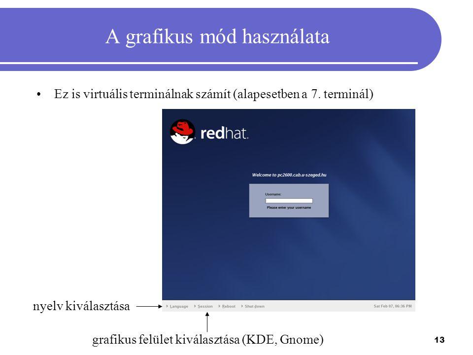 13 A grafikus mód használata Ez is virtuális terminálnak számít (alapesetben a 7. terminál) grafikus felület kiválasztása (KDE, Gnome) nyelv kiválaszt