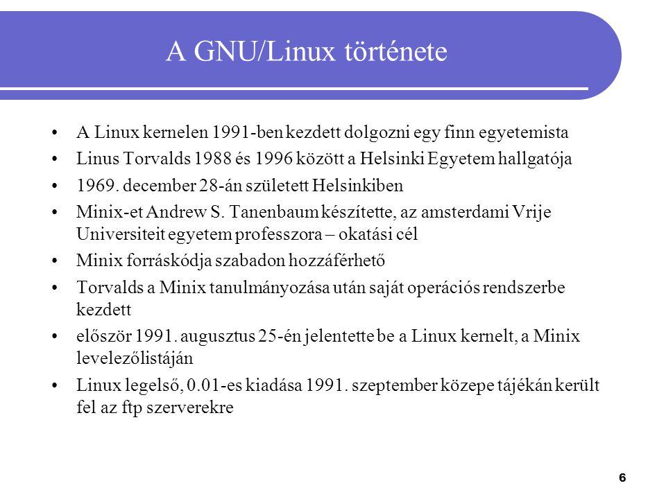 A GNU/Linux története A Linux kernelen 1991-ben kezdett dolgozni egy finn egyetemista Linus Torvalds 1988 és 1996 között a Helsinki Egyetem hallgatója