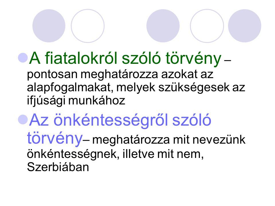 A fiatalokról szóló törvény – pontosan meghatározza azokat az alapfogalmakat, melyek szükségesek az ifjúsági munkához Az önkéntességről szóló törvény – meghatározza mit nevezünk önkéntességnek, illetve mit nem, Szerbiában