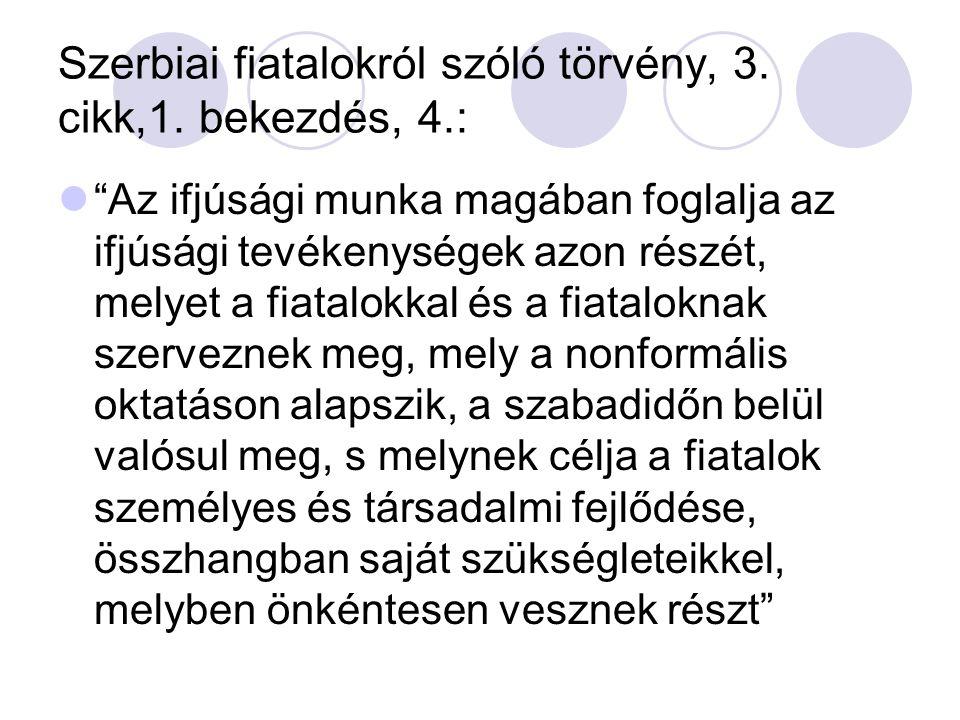 Szerbiai fiatalokról szóló törvény, 3. cikk,1.