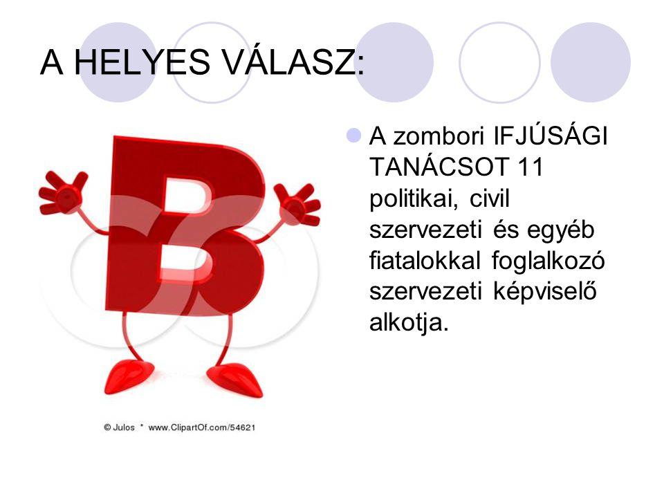A HELYES VÁLASZ: A zombori IFJÚSÁGI TANÁCSOT 11 politikai, civil szervezeti és egyéb fiatalokkal foglalkozó szervezeti képviselő alkotja.