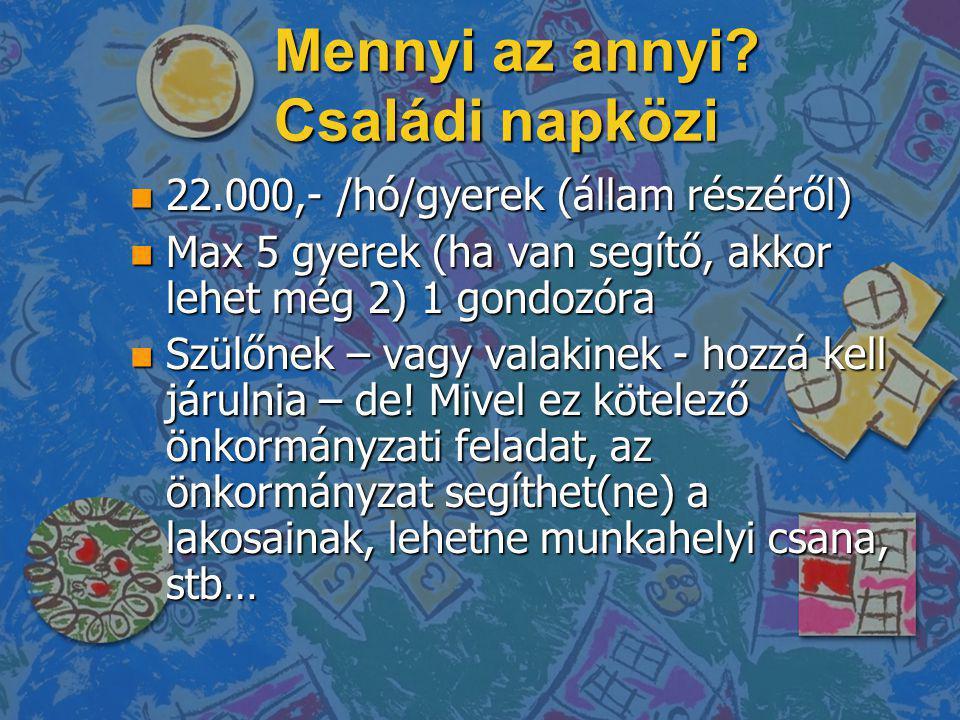 Mennyi az annyi? Családi napközi n 22.000,- /hó/gyerek (állam részéről) n Max 5 gyerek (ha van segítő, akkor lehet még 2) 1 gondozóra n Szülőnek – vag