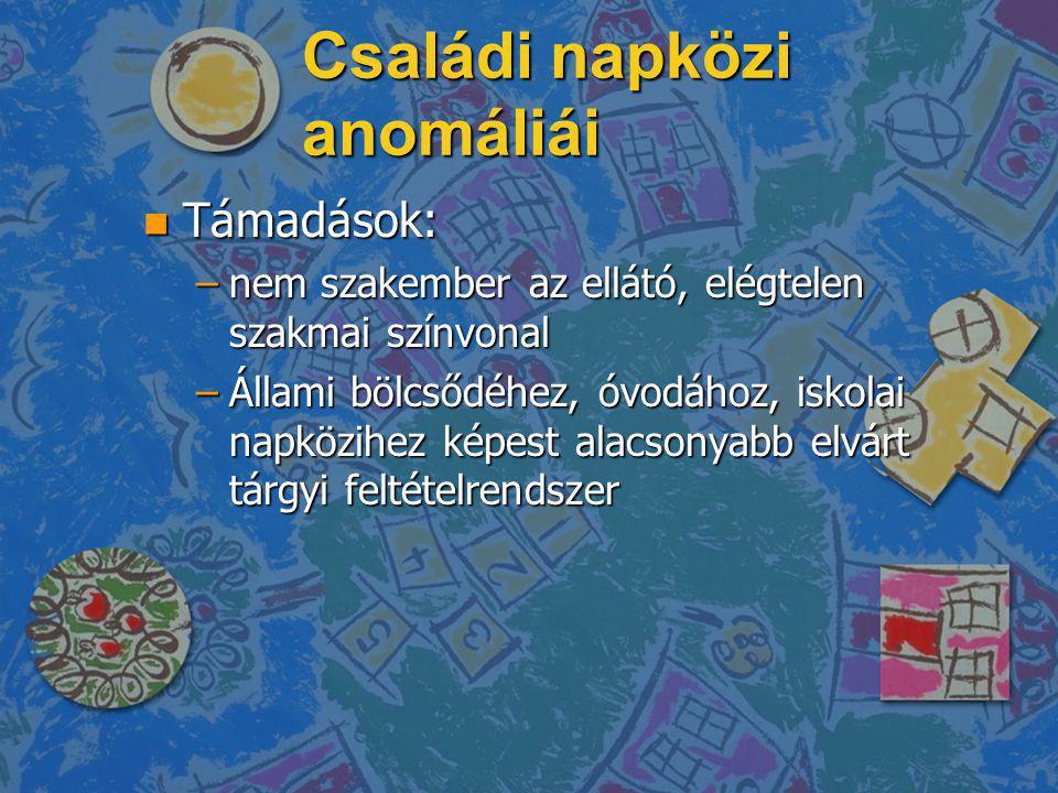 Családi napközi anomáliái n Támadások: –nem szakember az ellátó, elégtelen szakmai színvonal –Állami bölcsődéhez, óvodához, iskolai napközihez képest