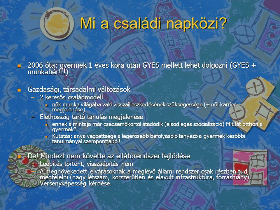 Mi a családi napközi? n 2006 óta: gyermek 1 éves kora után GYES mellett lehet dolgozni (GYES + munkabér!!!) n Gazdasági, társadalmi változások –2 ker