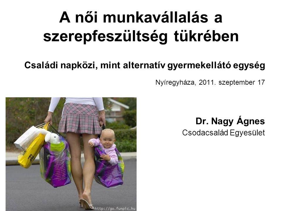 A női munkavállalás a szerepfeszültség tükrében Családi napközi, mint alternatív gyermekellátó egység Nyíregyháza, 2011. szeptember 17 Dr. Nagy Ágnes
