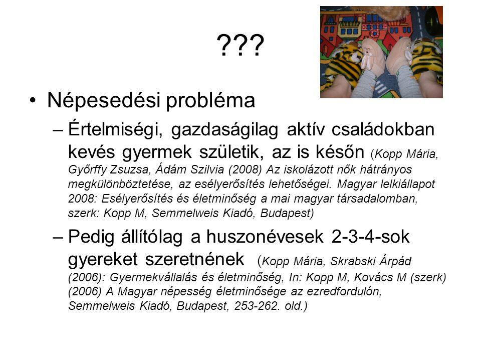??? Népesedési probléma –Értelmiségi, gazdaságilag aktív családokban kevés gyermek születik, az is későn (Kopp Mária, Győrffy Zsuzsa, Ádám Szilvia (20
