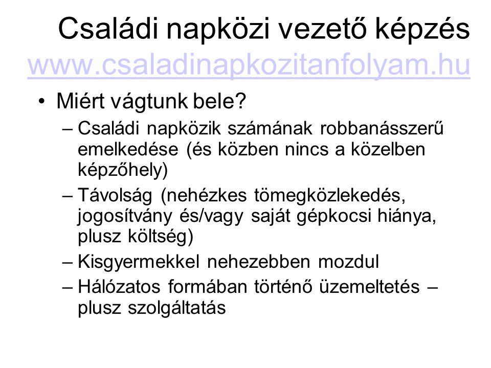 Családi napközi vezető képzés www.csaladinapkozitanfolyam.hu www.csaladinapkozitanfolyam.hu Miért vágtunk bele? –Családi napközik számának robbanássze