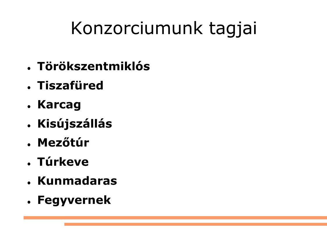 Konzorciumunk tagjai Törökszentmiklós Tiszafüred Karcag Kisújszállás Mezőtúr Túrkeve Kunmadaras Fegyvernek