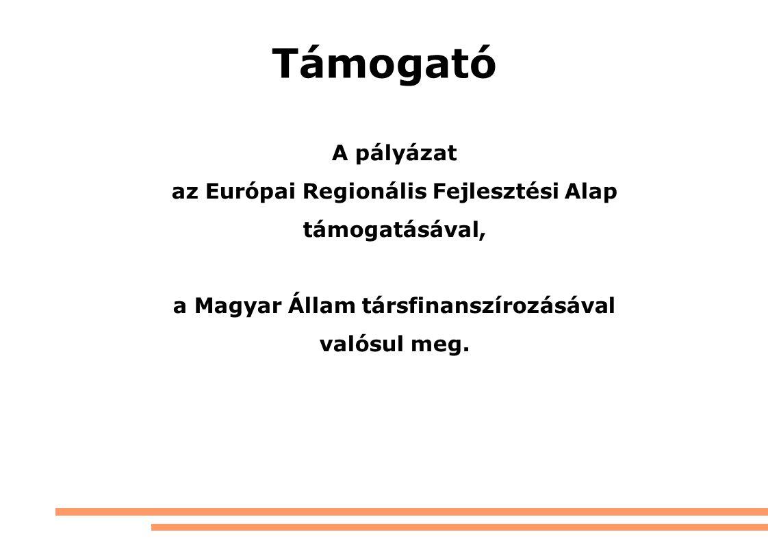 Támogató A pályázat az Európai Regionális Fejlesztési Alap támogatásával, a Magyar Állam társfinanszírozásával valósul meg.