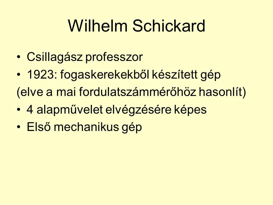 Wilhelm Schickard Csillagász professzor 1923: fogaskerekekből készített gép (elve a mai fordulatszámmérőhöz hasonlít) 4 alapművelet elvégzésére képes