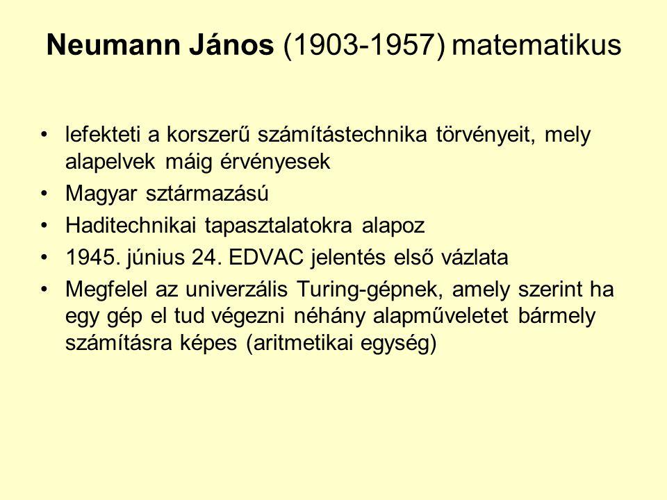 Neumann János (1903-1957) matematikus lefekteti a korszerű számítástechnika törvényeit, mely alapelvek máig érvényesek Magyar sztármazású Haditechnika