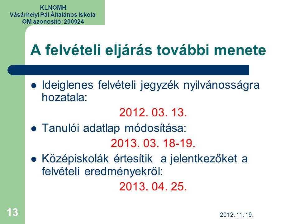KLNOMH Vásárhelyi Pál Általános Iskola OM azonosító: 200924 A felvételi eljárás további menete Ideiglenes felvételi jegyzék nyilvánosságra hozatala: 2012.